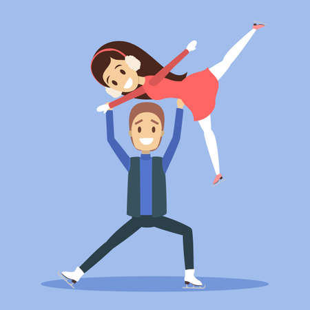 Cute romantic couple in warm clothes skate together outdoors. Winter activity and professional sport. Flat vector illustration