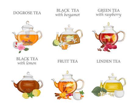 Ensemble de types de thé. Bouilloire ou théière avec boisson chaude et tasse en céramique ou en verre. Fruits et thé noir. Illustration vectorielle isolé