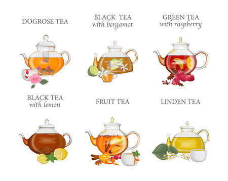 Tea types set. Kettle or teapot with hot drink and ceramic or glass cup. Fruit and black tea. Isolated vector illustration