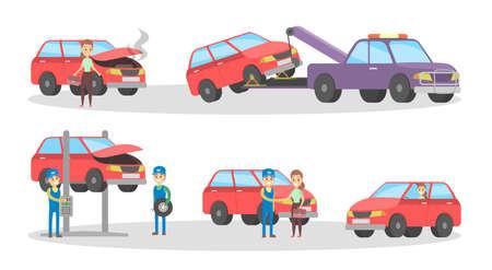 Car service set. Mechanics repair broken red automobile and change tire in garage. Engine diagnostic and fixing. Flat vector illustration Ilustração