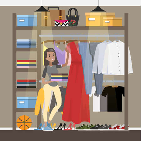 Smiling woman choosing clothes in the wardrobe. Clothing, bags and shoes. Red dress on hanger. Vector flat illustration