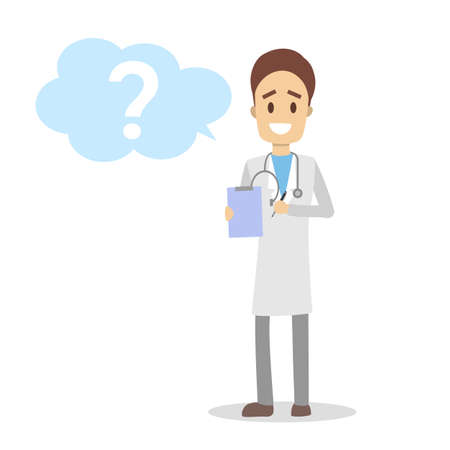 Male doctor in uniform with stethoscope standing and holding clipboard. Medical handsome worker asking a question in a speech bubble. Isolated flat vector illustration