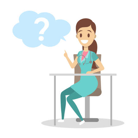 Female nurse in uniform with stethoscope sitting at the desk. Medical worker asking a question in a speech bubble. Isolated flat vector illustration
