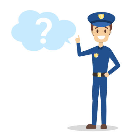 Male policeman in blue uniform standing at the big question mark and smiling. Police officer asking a question. Isolated flat vector illustration