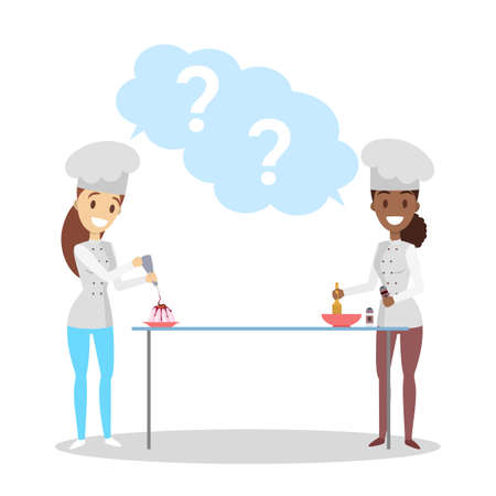 Female chef characters in apron cooking dessert. Women making dishes with question mark in the speech bubble above. Isolated flat vector illustration Stock Illustratie