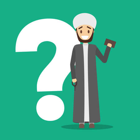 Smiling arab character in white and grey national clothes standing at the question mark. Arabian character. Flat vector illustration Illustration