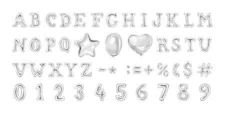 Set of grey number and letter balloons. Helium balloon in heart and star shape. Decoration for birthday party. Isolated vector illustration