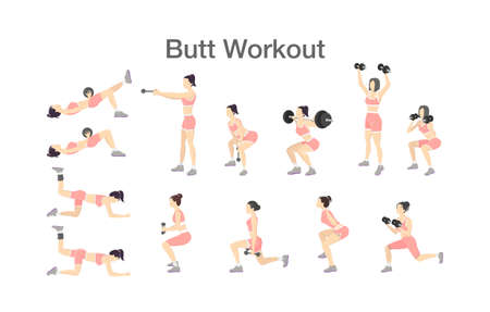 Butt workout set for women with dumbbell and barbell Illustration