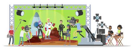 Interior del edificio del estudio de cine. Grabación de películas fantásticas con cámara, luces, micrófonos y otros equipos. Hacer el concepto de película. Escena con el capitán de la nave espacial. Ilustración vectorial plana