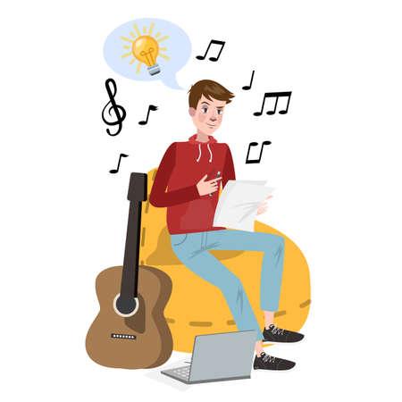 Mann, der Texte für Lied schreibt. Musikalischer Beruf. Junger Komponist mit Gitarre. Isolierte flache Vektorillustration Vektorgrafik