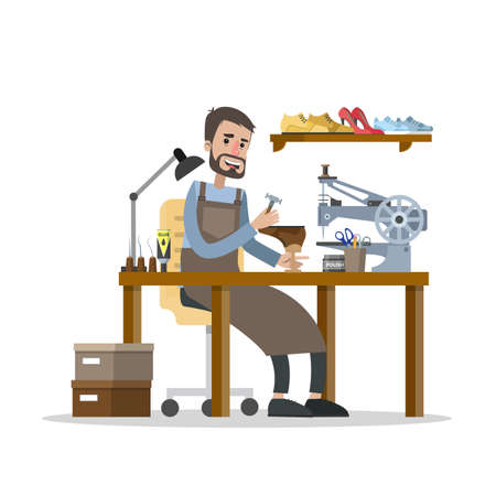 Man working in the shoe repair service. Cobbler sitting at the desk and repair boots with special equipment. Isolated vector flat illustration