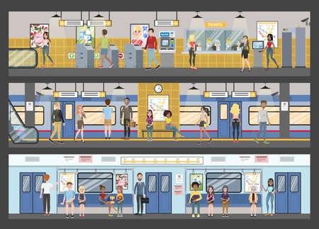 Subway interior with train and railway illustration 向量圖像