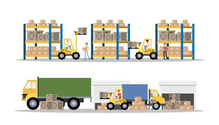 Interior del edificio de servicio de entrega o almacén con camión y carretilla elevadora. Trabajadores con contenedores y cajas. Empresa de transporte con caja de almacenamiento. Ilustración plana vector aislado