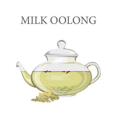 Glass teapot full of milk oolong tea  イラスト・ベクター素材