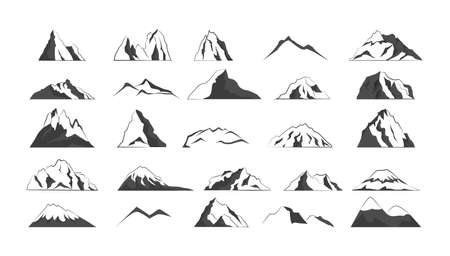 Collection of gray mountain shapes. High hills.