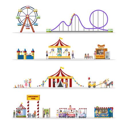 Amusement park set with circus tent and carousels