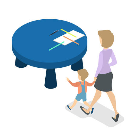 Woman with little boy going to the desk
