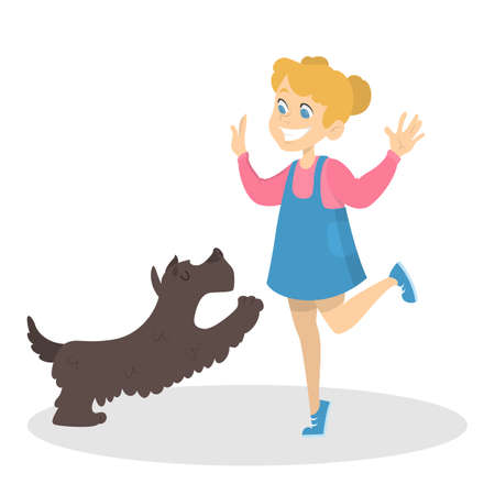 Little girl in blue and pink dress playing with her cute pet. Friendship between dog and child. Domestic animal owner. Isolated vector illustration in cartoon style.