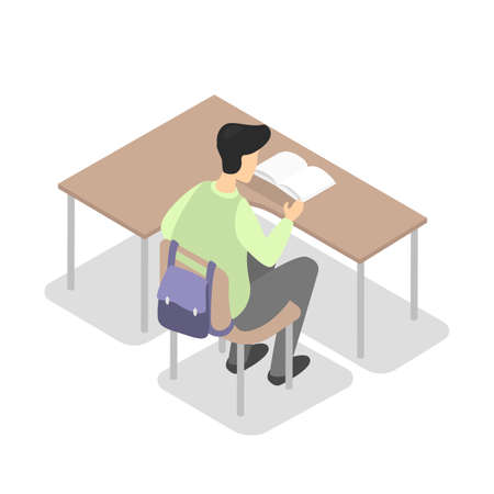 Student or pupil sitting at the desk and reading book . Boy study at the school. Idea of education and knowledge. Isolated vector isometric illustration