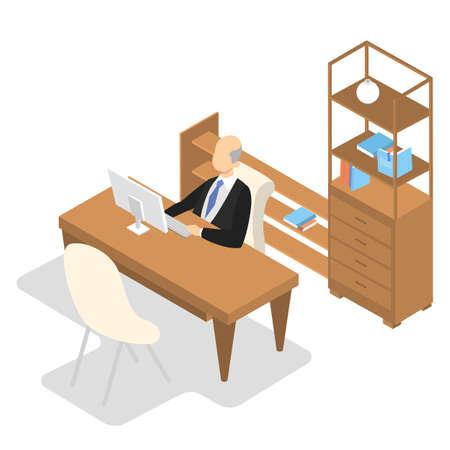 Director de escuela en traje sentado en su oficina y trabajando. Director en la mesa. Concepto de educación y conocimiento. Ilustración isométrica de vector aislado