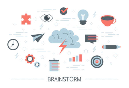 Brainstorm and creative mind concept. Generate new idea in teamwork. Making innovation and moving towards success. Set of colorful abstract business icons. Isolated flat vector illustration Illustration