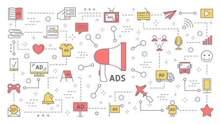 Different types of product advertising concept. Digital and outdoor ads. Commercial advertisement in social media and communication with customer. Set of line icons. Isolated flat vector illustration