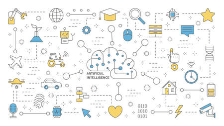 Concepto de inteligencia artificial o inteligencia artificial. Tecnología futurista y aprendizaje automático. Idea de asistencia robótica y mente humana. Conjunto de iconos de línea. Ilustración de vector plano aislado Ilustración de vector