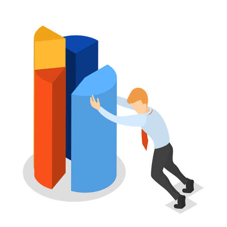 Businessman in suit pushing segment of big pie chart to the full circle diagram. Data analysis concept. Isolated vector isometric illustration