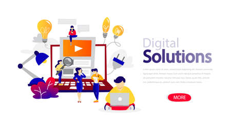 Digital solutions horizontal banner for your website. Header for web page. Responsive app design. Idea of creative solution and modern invention. Flat vector illustration