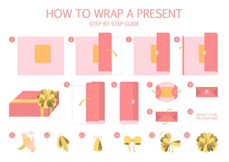 How to wrap a present step-by-step instruction. Gift box packaging guide. Beautiful xmas bow making. Handmade red package decoration for christmas present. Isolated flat vector illustration Illusztráció
