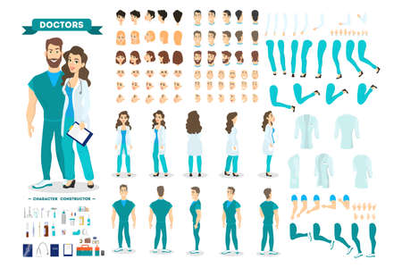 Doctor couple character set for the animation with various views, hairstyle, emotion, pose and gesture. Medical equipment. Male surgeon and female worker. Isolated vector illustration in cartoon style Illustration