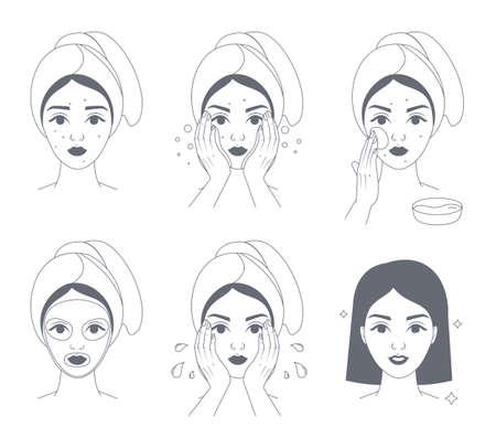 Cómo aplicar la mascarilla facial para mujeres. Guía paso a paso para el uso de mascarillas en crema facial. Cuidado de la piel y tratamiento del acné. Ilustración de vector de línea aislada