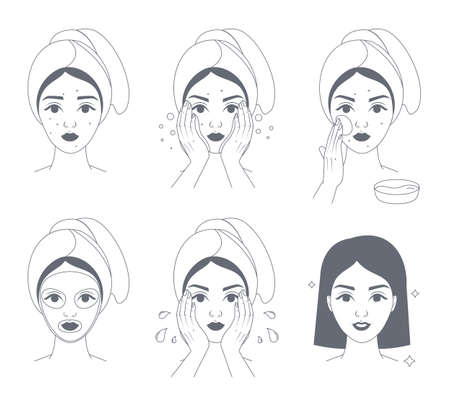 How to apply face mask instrustion for women. Step-by-step guide to facial cream mask usage. Skin care and acne treatment. Isolated line vector illustration  イラスト・ベクター素材