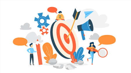 Small business people standing around a huge target. Idea of business goal and arrow as a metaphor of achievement and success. Flat vector illustration