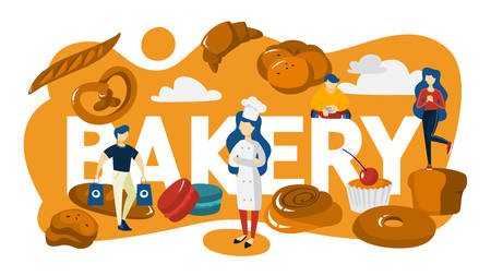 Bakery banner concept. Small people standing around baked food. Fresh tasty good shop. Delicious bread, pie and dessert set. Flat vector illustration
