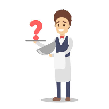Young male waiter character holding tray with question mark on it. Ask servant in uniform. Isolated flat vector illustration Illustration