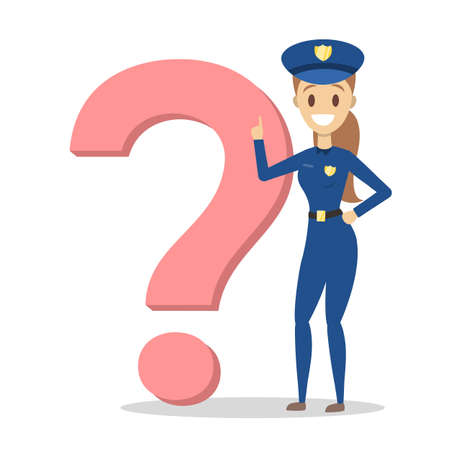 Female police officer in blue uniform standing at the big question mark and smiling. Police officer asking a question. Isolated flat vector illustration