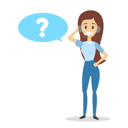 Technical support worker with headphones ask or answer a question. Operator in headset with question mark in speech bubble above. Isolated flat vector illustration