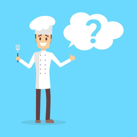 Male chef character in the uniform and hat smiling with question mark in the speech bubble above. Isolated flat vector illustration Ilustrace