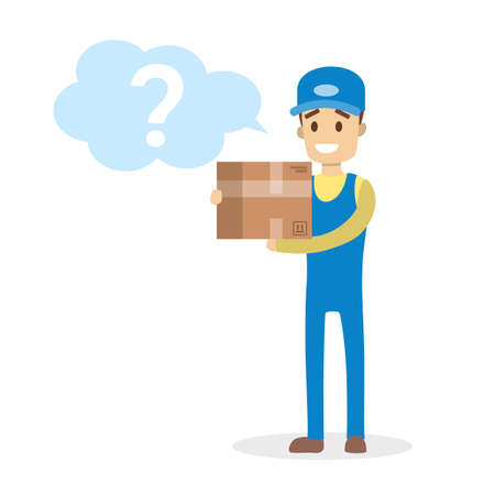 Male courier working in delivery service holding package. Question mark in speech bubble. Ask courier. Isolated flat vector illustration