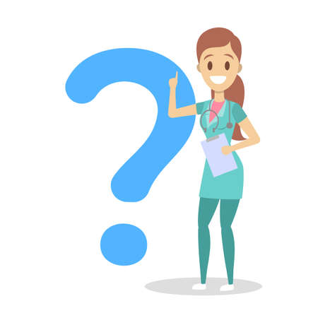Female nurse in uniform with stethoscope holding clipboard. Medical worker asking a question in a speech bubble. Isolated flat vector illustration