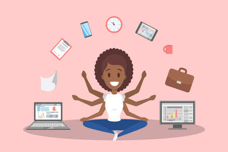 Multitasking african american business woman. Effective and talented employee or workaholic. Doing many things at once. Isolated flat vector illustration Illustration