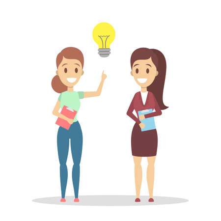 Two business women have an idea. Creativity and innovation. Light bulb as a metaphor of idea or solution. Isolated flat vector illustration Ilustração Vetorial
