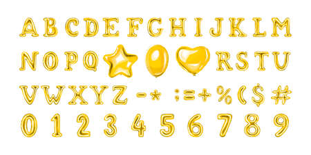 Set of golden number and letter balloons. Helium balloon in heart and star shape. Full 3d alphabet. Decoration for birthday party. Isolated vector illustration Vector Illustration