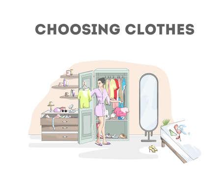 Mujer sonriente eligiendo ropa en el armario