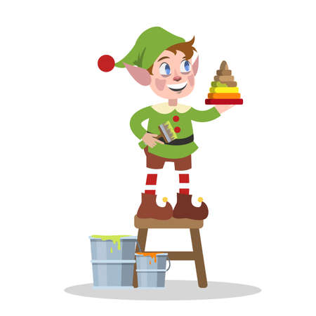 Cute christmas elf in green clothes making toy for xmas present. Painting pyramide. Holiday concept. Isolated flat vector illustration