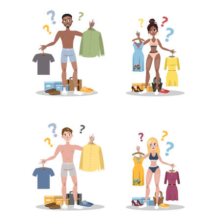 Young people choosing between two clothes set. Man and woman in doubt thinking what to wear today. Isolated flat vector illustration