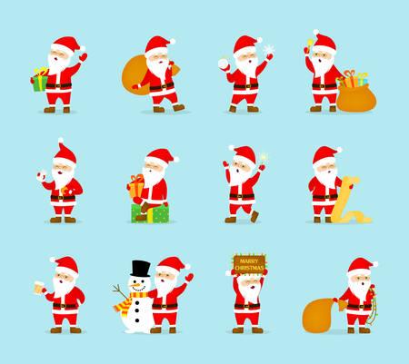 Set of cute funny Santa Claus in glasses celebrating Christmas and New Year. Happy Santa with bag having fun. Flat vector illustration