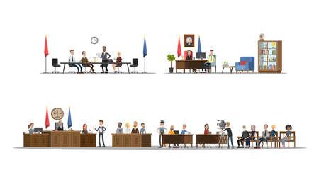 Interior de la corte con sala de audiencias y oficinas. Proceso de juicio con juez, jurado y sospechoso. Ilustración vectorial plana