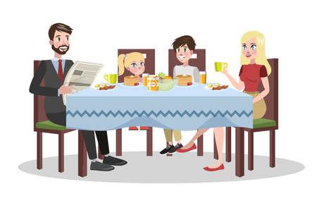 Familie frühstückt am Küchentisch. Glückliche Eltern und Kinder essen zusammen. Vater und Mutter, Sohn und Tochter beim Mittag- oder Abendessen. Isolierte flache Vektorillustration Vektorgrafik